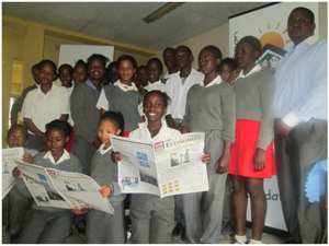 Economist sub-editor, Nyasha Nyaungwa (right) took the Grade 7 learners of Otjomuise Primary School on a guided tour of newspaper production. The group also visited the printing works at the Newsprint factory where they saw a demonstration of newspaper printing.