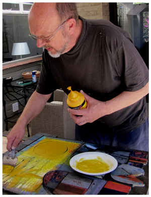 Francois de Necker working in his studio