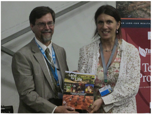 Pictured at the launch of the magazine is Philip Schuler, the World Bank's resident representative for Namibia and Paola Agostini of the World Bank's TerrAfrica team. (Photograph by Hilmah Hashange)