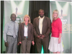 (From left to right): Judges of the 4th Windhoek Lager Ambassador for 2013/2014: Cornelius Weyulu, Registrar and CEO of the Health Professions Council of Namibia; Ginger Mauney, award-winning wildlife filmmaker; Lesley Tjiueza,well-known NBC sports commentator and Kirsty Watermeyer , radio, TV and film personality.