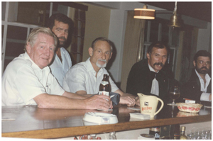 Windhoek Club members (from the left) Heinz Morgner, John Hunt, Eckart Pfeifer and Ian McLaren enjoying a nightcap at the Club House bar shortly after Independence.