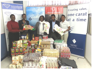 The staff of Debmarine, Namdeb and the Diamond Trading Company this week presented the Red Cross Society with very close to N$44,000 in the form of groceries, blankets, clothing and a cash donation.