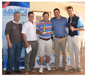 From left to right: Nolito Marques from Manica, Kevin Dereuck, Luther Mostert, Ben van Wyk, and Jaco Marais from Manica.