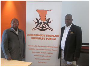 Chairperson of the Indigenous Peoples' Business Forum, Albin Illovo and its Vice President, Chrisch Siririka, at the official announcement of the Forum this week.