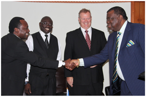 (Left to right) Chief Executive Sanlam Investment Management, Tega Shiimi ya Shiimi; General Manager: Public & Corporate Support, Evans Simataa; Group CEO Sanlam, Tertius Stears with Prime Minister Dr. Hage Geingob at the handover of the Sanlam donation on Wednesday. (Photo contributed)