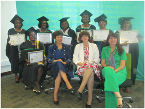 Old Mutual Micro Business graduate Beatrix Ndjao (front left) with Veronica de Klerk, Director: Women's Action for Development, Patricia Olivier, HR Executive: Old Mutual, and Margaret Bennet , Director: Centre for Enterprise Development at the Polytechnic. In the back row are graduates Ndeyapo David, Melanie Kambonde, Lisiaan Gauases, Lea Daniel, Helena Shanika, and Miina Antonio. (Photograph by Hilmah Hashange)