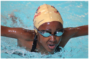 Lourencia Samakoupa, one of the young swimmers who will take part in the Bank Windhoek Long Course Swimming Gala on Saturday in Tsumeb.