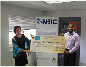 Dorothea Westhofen-Kunz, General Manager of the Namibian Business Innovation Centre at the Polytechnic with Josephat Mwatotele, Managing Director of Northgate Technologies.