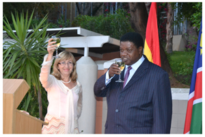 Spanish Ambassador to Namibian, Her Excellency Mrs Carmen Díez Orejas toasting the well-being of her country at the celebration of the Spanish National Day. She is joined by Namibia's Minister of Justice, Hon. Utoni Nujoma.