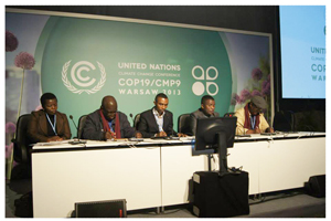 Defending the African point of view at the opening of COP 19 in Warsaw are, from the left,  Agnes Banda from Malawi ,Robert Chimambo, from Zambia Climate Change Network, Samson Ogallah, National Coordinator of Pan African Climate Justice Alliance (PACJA) and Mithika Mwenda, the Secretary General of the Pan African Climate Justice Alliance (PACJA)and Dr. Habtemariam Abate, from Ethiopian Civil Society Network on Climate Change.