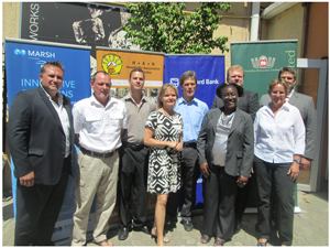 Representatives of the many companies sponsoring the Tourism Trade Forum at the Hospitality Associatioin of Namibia's annual congress, joined Gitta Paetzold (middle front), the association's CEO for the official launch this week. (Photograph by Hilmah Hashange)