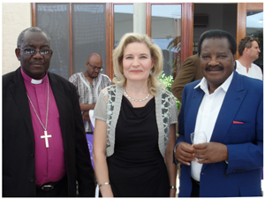Pictured at the launch are Dr.Vaino Nambala, Presiding Bishop of ELCIN, Head of Mission, Embassy of Finland, H.E. Anne Saloranta and Honourable Minister of Veterans Affairs, Dr Nicky Iyambo.