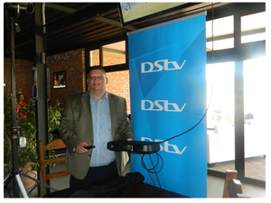 The best TV just got better, General Manager for Multi Choice Namibia, Roger Gertze unveils the Explora. (Photograph by Melba Chipepo)