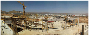 Construction of the impressive Grove Mall of Namibia is currently underway.