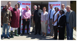 Members of the EU Parliament are pictured with Meatco Chief Executive Officer Vekuii Rukoro (centre, black suit), Meatco's Executive for Operations, Jannie Breytenbach and Plant Manager, Andries Taljaardt.