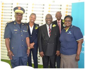From left to right: Deputy Inspector General, James Tjivikua (Namibian Police); MVA Fund CEO  Rosalia Martins-Hausiku; Permanent Secretary in the Ministry of Works and Transport, Peter Mwatile; Executive Secretary of the National Road Safety Council, Eugene Tendekule and Namibia Breweries Limited National Marketing Manager, Rosemary Shippiki at the official launch of the Xupifa Eemwenyo Campaign – Road Safety Interventions for 2013/2014.