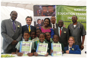 The Namibia Education Transformation Fund was launched on 15 November in the capital.  Dr Namwandi is pictured with some of the partners and some students from Havana.