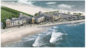 The four star Strand Hotel will have 135 rooms, three restaurants, three bars, a conference centre, a micro brewery, a deli shop, a beach kiosk and a public spa and fitness centre with a heated swimming pool.