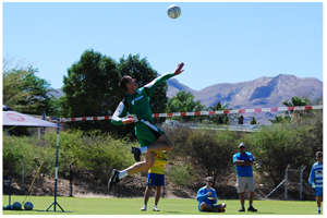 Dirk Schachtsiek, the most sucessfull Fistball player of recent years, in action at the Bank Windhoek National Fistball Cup.