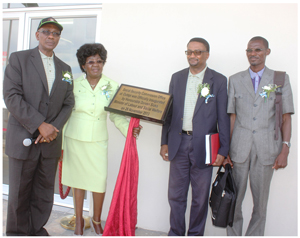 Premanent Secretary in the Ministry of Labour and Social Welfare, George Simaata (left), Governor of the Omusati Region Sophia Shaningwa and Kenandei Tjivikua, Executive Officer of the Social Security Commission at the inauguration of the Social Security Commission service centre in Outapi.