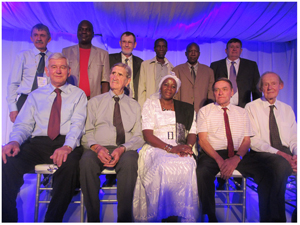 Back row from the left: City of Windhoek Strategic Executive Piet du Pisani, Jacob Sakaria, Jurgen Menge, Simon Matheus, Frans Mwafangeyo and Willie Harmse. From left to right seated: Willie Grabow, Lukas van Vuuren, Mayor of Windhoek, her Worship Agnes Kafula, Ronnie van Steenderen and Piet Meiring. (Photograph by Hilmah Hashange)