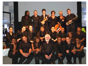 Aldo Behrens and his Kalahari Ensemble, together with Randall Wicomb, lead the entertainment scene in Swakopmund, late in December.