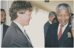 A young editor (left) is completely overwhelmed by the humbleness and open demeanour of Nelson Mandela on an official visit to Namibia shortly after he was released from Pollsmoor Prison in Cape Town.