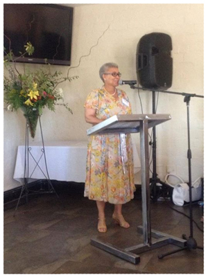 Member of Parliament, Hon Lucia Witbooi speaking at the launch of CRAN's strategic plan for 2012 to 2015. (Photograph contributed by CRAN)