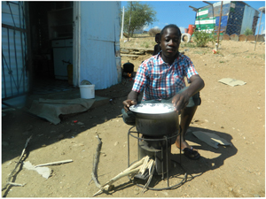 Residents in Havana such as Diob Kauapirura will soon be able to use Ecologs to complement his energy -efficient Ezystove (Photograph by Hilma Hashange)