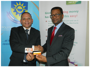 (From left to right) Walter Don, CEO: Nam-mic Financial Solution Holdings and Prof: Tjama Tjivikua, Rector of Polytechnic of Namibia at the launch of the new student card with a functionality of a low-cost transactional account. (Photograph by Lorato Khobetsi)