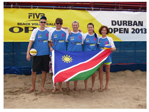 Namibian Beach Volleyball team Tin Hlupic, Gerard Fischer, James Verrinder (coach), Julia Laggner and Lizette Roettcher.