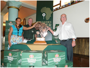 Brand manger Windhoek Trademark at NBL Carmen-Rae Bridgens, NBL Manger: Sponsorships, Events and Brand, Ian Stevenson and Executive member of Namibia Golf Union (NAGU) Secretary General of the Africa Golf Federation, Hugh Mortimer. (Photograph by Melba Chipepo).