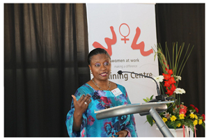 Dr Magda Robalo, Head of the Word Health Organisation in Namibia motivating and encouraging the 74 graduates of the Women at Work Training Centre.
