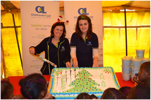 Tanya Payne and Leandra Van Bosch from Hangana Seafood had the tremendous pleasure of cutting the giant cake in front of the eager children. For the company's trademark annual Christmas party for vulnerable children from the Walvis Bay community, Hangana had asked all other companies in the Ohlthaver & List Group to help support this event. Adding to the children's delight, was the arrival of a real Santa Claus, literally with a truckload of gifts.