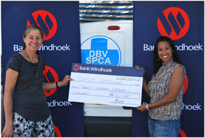 Hilary du Plessis (left), Manager of the Windhoek SPCA with Elzita Beukes of Bank Windhoek.