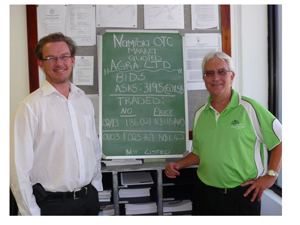 Agra CEO, Peter Kazmaier with General Manager of the Namibian Stock Exchange, Tiaan Bazuin, at the listing of Agra on the OTC (Over the Counter) Market.