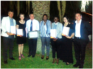 The Gondwana team celebrating their bouquet of awards at the HAN Gala Evening (left to right): Mannfred Goldbeck (MD), Silke Ahrens (Training), Otto von Kaschke (Manager of Namushasha River Lodge), Maxi Louis (NACSO Director), Hilma Amutenya (HR Manager), Anthea Cloete (Marketing) and Bernd Grahl (Manager Social Media).