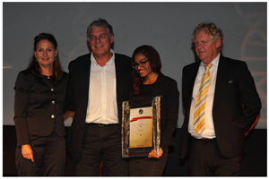 From the left : Michelle Meyjes, CEO of the MEC Group and chairperson of the awards; Marc Spriestersbach, Business Unit Head of O&M Africa; Salma Mkwanazi, Senior Account Manager at O&M Africa, and Tim Cohen, editor of the Financial Mail.