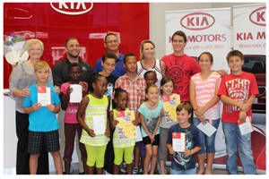 Pro-Tennis Academy's Elizma Nortje (center back) pictured with sponsors and tennis players who took part in the Kia Tennis series at the Award Ceremony which took place recently to award  the outstanding players in this year's series.