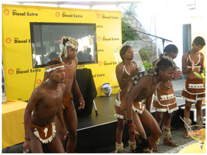 A lively performance by cultural dancers at the Shell Diesel Extra refresher campaign received loud applause from audience. (Photograph by Musa Carter)