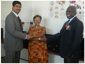On the left is the General Manager of Skorpion Zinc, Satish Kumar, in the middle is the Director of Welwitschia University, Dr Kloppers and on the right is the Minister of Mines and Energy, Hon. Isak Katalim, at the launch of Skorpion Zinc's CSR report and hand-over of computers (Photograph by Musa Carter)