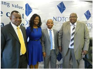 Sparkling diamond......Namibia Diamond Trading Company Manager for Public & Corporate Affairs Helena Mootseng (in blue dress) flanked by NDTC executives. (Photograph by Nyasha Francis Nyaungwa)