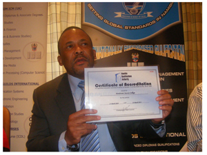 Namibia Qualifications Authority CEO, Franz Gertze showing the accreditation certificate of Monitronic Success College. (Photograph by Nyasha Nyaungwa)