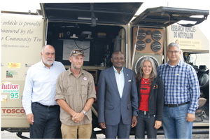 At the donor presentation ceremony this week in Walvis Bay are from left to right, Mr Jan Arnold, MD of Bidfish Namibia, Dr Flip Stander, Desert Lion Conservation Project, Hon Pohamba Shifeta, Deputy Minister of Environment and Tourism, Ms Marcia Fargnoli, CEO of Save the Rhino Trust and Mr Jerome Mouton, CEO of Namsov Group of Companies.