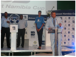 NFA Secretary General Barry Rukoro launching the draw for the preliminary rounds of the Bidvest Namibia Cup at the Supporters Sports Club in Windhoek recently. (Photograph by Ogone Tlhage)