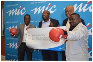 Boxing hopefuls Tim Ekandjo, Chief Human Capital and Corporate Affairs Officer and MTC board member Mr Malakia Elindi, dawned in boxing gloves with Permanent Secretary in the Ministry of Youth, Sports and Culture Dr Vetumbuavi Vei (second from right) and second from left is Mr Nestor Tobias of Sunshine Boxing and Fitness Academy.