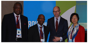 From the left, Dr Tobias Takavarasha, representative of South Africa, FAO; Dr Shadeck Moephuli, the CEO of the Agricultural Research Council, Patrick Verkooijen from the World Bank; Dr Xiangjun Yao, the Director of Climate, Energy and Tenure Division, FAO, Rome.