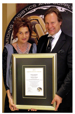 Kobus and Juanita Maree received the Logistics Achievers Platinum Award for Savino Del Bene's innovations in the imported tyre market.