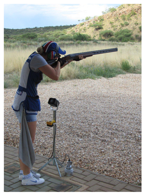 Olympic trap and skeet shooter, Gaby Ahrens, with her new Krieghoff shotgun.