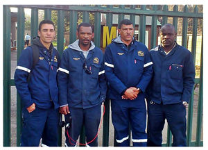 Raymond Van Wyk, Raymond Brendell, Denver Olkers and Jesaya Nghishiko attended a rigging course in South Africa to expand their training and improve their skills.